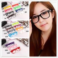 Wholesale geek glasses wholesale - 100pcs 19 candy colors Unisex sunglasses Rivet Sunglasses Retro Color Unisex Punk Geek Style Clear Lens Glasses R053