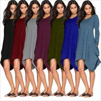 Wholesale tank top t shirt dresses - 2pcs Women T Shirts Fashion Leisure Tops Long Sleeve Casual Blouse European America Street Solid Color Shirts Looses Loose Long Tank AP70
