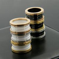 ювелирные изделия из титана оптовых-Пружинная резьба с обеих сторон керамического кольца передач титана стали алмазные кольца ювелирные изделия высокого класса внешней торговли поставок товаров