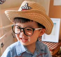 Wholesale Crochet Baby Cowboy Hats - 2017 New baby summer Straw hats kids five star sun caps baby cowboy hat children top hat jazz cap baby topee