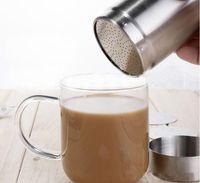 shakers de poudre de cacao achat en gros de-Cappuccino Latte Art Tool Distributeur de poudre de cacao Shaker à chocolat Duster + Cappuccino Café Barista Stencils Coffee Tool Set