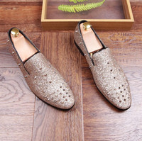 Wholesale Spike Heel Wedges - 2017 Hot sales en Business Dress Shoes Business Mens Basic Flat Shoes Genuine Leather Spikes Oxfords Shoes Casual Souliers Zapatillas GX62