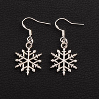 Wholesale China Chandeliers Wholesale - Snowflake Earrings 925 Silver Fish Ear Hook 40pairs lot Tibetan Silver Dangle E790 15.5x37.2mm