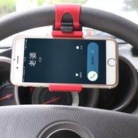 Wholesale Bracket Cradle For Mobile - Universal Car Steering Wheel Mobile Phone Holder Bracket for iPhone 6s GPS Smartphone Cradle Holder SMART Clip Bike Mount for Samsung Galaxy