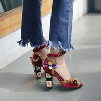 Bohemian Vintage Style Elegant Chunky High Heel Sandals 2017 Mulheres Summer Peep Toes Casual Shoes Pearl Gold Metal Decore Sandálias de couro