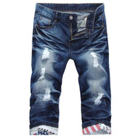Wholesale Free Fashion Capri - Wholesale- 2017 Summer New Mens Ripped Jean Shorts with Holes Capri Regular-fit Denim Fashion Casual Short Trousers