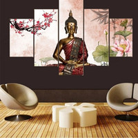 Wholesale Lotus Painting Wall Panels - Framed 5 Panels Lotus Buddha statue,genuine Hand Painted Contemporary Home Decor Wall Art Oil Painting Canvas.Multi sizes Free Shipping 017