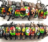 Wholesale Wholesaler Jamaica - 20pcs Bob Marley Leather Bracelets Men's Legend Jamaica Wristbands Punk Cool Bangles Wholesale HOT Jewelry Lots