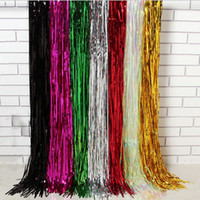 Wholesale Blue Tinsel - Metallic Foil Tinsel Fringe Curtain Door Rain Home Room Wedding Party Decoration Stage Backdrop Background Photo Props 92*245cm