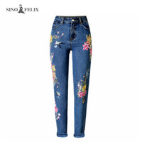 Wholesale Ladies Denim Jeans Boot Cut - Wholesale- 2017 spring new Women sweet floral embroidery holes denim jeans pockets ankle length pants ladies casual trouse SNIOFELIX TOP225