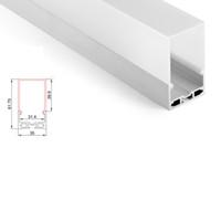 cubierta de perfil de tira de led al por mayor-50 X 1 M juegos / lote U Forma tira de aluminio canal de aluminio y cubierta de 40 mm de profundidad perfil de colgante llevado para techo o lámpara de suspensión