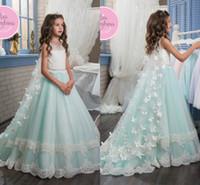 envolturas de encaje para bodas al por mayor-2020 nuevos vestidos de niñas de flores para bodas apliques de encaje sin mangas con cuello de joya tul con envolturas cumpleaños niños niñas vestidos de desfile