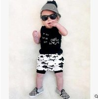 Wholesale Toddler Boy Tanks Wholesale - Baby outfits fashion Infant shark printed tank top+shorts 2pc sets baby boy summer cotton clothing toddler kids letter printed sets T4126
