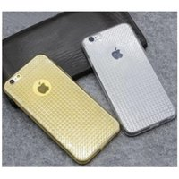 Wholesale Dustproof Plug Cellphone - For iPhone 6 6S Plus Ultra thin Diamond Pattern TPU Case With Dustproof Plug Soft Fashion Cellphone Back Skin Cover Free DHL