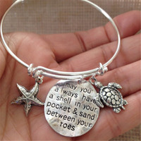 Wholesale Turtles Charms - 12pcs Bracelet with starfish turtle may you always have a shell in your pocket & sand between your toes