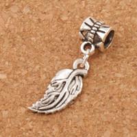 charmes de grandes feuilles achat en gros de-Feuilles souples Feuille Big Holes Beads 100pcs / lot 29.8x8.4mm Argent Antique Fit Européenne Bracelets Bracelets B362