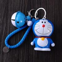 Wholesale Cute Birthday Doraemon - Cute Cartoon Cat Keychain Doraemon Zinc Alloy Key Rings Knit Leather Chain Color Bells Bag Pendant Car Ornament Birthday Gift