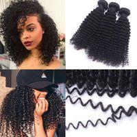 makine atkı saç uzantıları toptan satış-Afro Kıvırcık Perulu İnsan Saç Paketler 100% Perulu İnsan Saç Uzatma Örgü Siyah Kadınlar Için Çift Makine Atkı