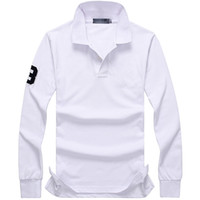 Wholesale Mens Long Sleeve Purple Polo - Brand Men Polo Shirt Mens Solid Polo Homme Big Horse Embroidery Casual Long Sleeve Tops for Man leisure Cotton Polos Male Top quality
