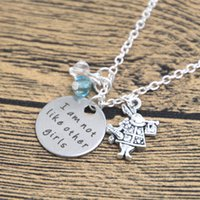 Wholesale American Alice - 12pcs lot Alice in Wonderland Inspired Necklace I am not like other girls Silver colored crystals