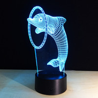 Wholesale Dolphin Cup - 2016 Jumping Dolphin 3D Optical Illusion Lamp Night Light DC 5V USB Charging AA Battery Wholesale Dropshipping Free Shipping