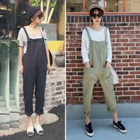 Wholesale Suspender Jeans Women - Wholesale- YONO New Fashion Women Harem Jumpsuits Overalls Suspenders Loose Jeans Slim Rompers Solid Bib Mid Pants Pocket Japan Style