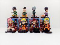 Wholesale Nendoroid Naruto - Naruto 8pcs set cartoon modle figure Naruto Kakashi Sasuke sushi Ver. anime action Nendoroid minifigure decoration collection with box Y7226