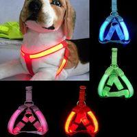 parlayan hayvan tasma toptan satış-LED Pet Harness Köpek Tasması Kedi Tasmalar Yanıp Sönen Işık Yaka Glow Emniyet Köpekler Yavru Kediler Tasması Malzemeleri Pet Tasma Sıc ...
