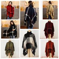 Wholesale Girls Cloak Coat - Plaid Poncho Scarf Tassel Fashion Wraps Women Scarves Tartan Winter Cape Grid Shawl Cardigan Blankets Cloak Coat Sweater shawl wraps KKA3273