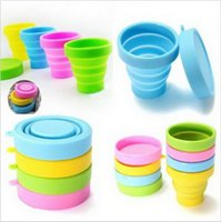Wholesale Retractable Folding Cup - 4 Colors Outdoor Travel Silicone Retractable Folding Cup Telescopic Collapsible Travel Drinkware Water Cup b855