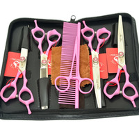 Wholesale cutting pc case online – custom 7 Inch Meisha Teeth Professional Pet Dog Grooming Scissors Kit Cutting Thinning Curved Shears JP440C Set Case HB0079