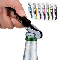 Wholesale Fold Hinges - Professional Folded Waiter's Wine Cap Tool Bottle Opener Sea Horse Corkscrew Knife Stainless Steel Openers Pull Tap Double Hinged Corkscrew