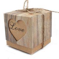 ingrosso carta da imbiancatura-50pcs contenitore di caramella cuori di nozze in amore rustico imitazione corteccia di kraft con tela di ragno twine chic vintage bomboniera regalo