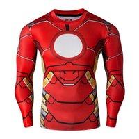 Wholesale Mens Captain Costume - 2017 Batman Spiderman Ironman Superman Captain America Avengers Costume Superhero Soldier Mens Long T shirt T-shirts for men