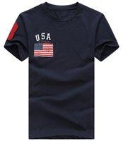 Wholesale Mens Fashion Shirts Big Size - Pro Design Classic Men Fashion USA Flag Print Casual T-shirt With Big Horse Summer Fitness Mens T Shirt SIZE S-XXL Mens T-Shirts White