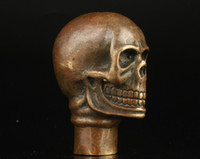 Wholesale Fans Asian - Asian Chinese Old Bronze Handmade Carved Skull Statue Walking Stick Head