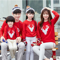 Wholesale Deer Jumpers - Christmas sweatshirt baby jumpsuit girls womens deer printed long sleeve pullover father son leisure jumper family cotton clothing T0371