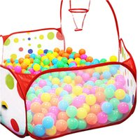 Wholesale Cartoon Ts - Wholesale- TS Pop up Hexagon Polka Dot Kids Ball Play Pool Tent Carry Tote Toy +50 Balls AUG 25