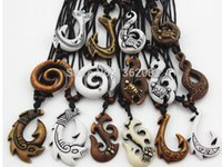 Wholesale Maori Necklace Wholesale - 2017 Mixed Hawaiian Jewelry Imitation Bone Carved NZ Maori Fish Hook Pendant Necklace Choker Amulet Gift lady necklace man