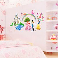 Wholesale Large Snow White Wall Sticker - Wholesale Cartoon Snow White Princess Wall Sticker for Girls Kids Room Decorative Wall Decal Home Decoration Wall Art Wallpaper