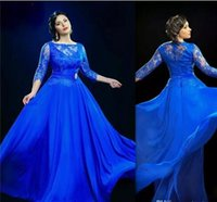 Wholesale Long Sleeved Dresses For Prom - Design Formal Royal Blue Sheer Evening Dresses With 3 4 Sleeved Long Prom Gowns UK Plus Size Dress For Fat Women