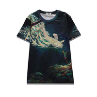 Wholesale Mens Fishing Shorts - 2017 sping new summer wear novelty tees 3d print big fish mens short-sleeve womens tee unisex o-neck cool hip hop t-shirts
