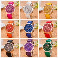 Wholesale Colorful Glasses For Men - 2016 Christmas Luxury Geneva watches Roman Numerals Watch Wrist watch Faux leather Colorful Candy Cute quartz Exquisite wrist For men womens
