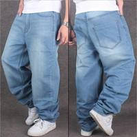 Wholesale Wide Leg Hip Hop Jeans - New Tide Man loose jeans hiphop skateboard jeans baggy pants denim pants hip hop men jeans plus size 30-46