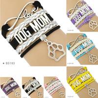 Wholesale pieces for mom - (10 Pieces Lot)Infinity Love Dog Mom Pug Yorkie Mom Paw Charm Leather Wrap Cuff Bracelets For Women Men Jewelry