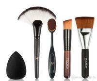 Wholesale Large Makeup Fan Brush - 5pcs set Professional Soft Fiber Makeup Brush Set Large Fan Powder Blush Foundation Brush with Powder Puff