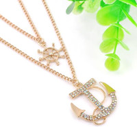 Wholesale Wholesale Diamond Cross Chain - NEW diamonf Cross Pendant Necklaces boat anchor double Necklace sweater necklaces Event Chain Elegant Jewelry For Women Ladies free shipping