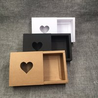 Wholesale Gift Boxes Windows - 50pcs Kraft Drawer Box with PVC Heart Window for Gift\Handmade Soap\Crafts\Jewelry\Macarons Packing Brown Paper Storage Boxes