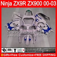 Wholesale Kawasaki Zx9r - 8Gifts 23Colors For KAWASAKI NINJA ZX 9 R ZX9R 00 01 02 03 900CC 40NO37 blue flames ZX 9R ZX900 ZX900C ZX-9R 2000 2001 2002 2003 Fairing
