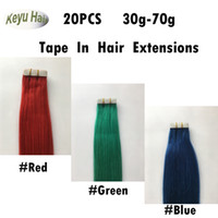 Wholesale Brazilian Straight Hair Tape In Hair Extensions Red Green Blue Skin Weft Human Hair Extensions inch